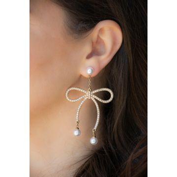 Uhani Pearl Bow / Pearl Bow Earrings